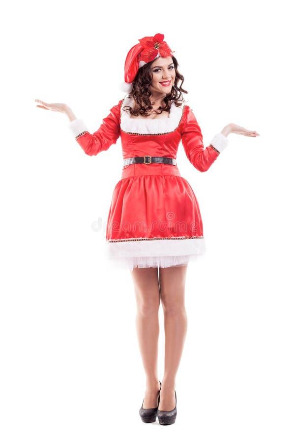 Bella e donna sexy che porta il Babbo Natale immagini stock