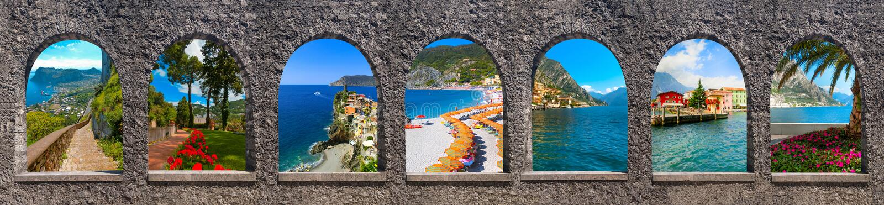 Bella ed isola famosa nella costa di mar Mediterraneo, Napoli di Capri, L'Italia collage immagini stock libere da diritti