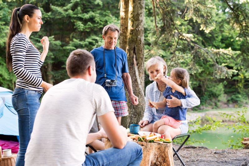 Bella famiglia che si accampa nella foresta, mangiante insieme immagini stock