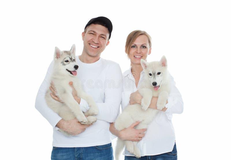 Bella famiglia, un uomo e donna che si tengono per mano sui cuccioli del husky, isolamento fotografie stock