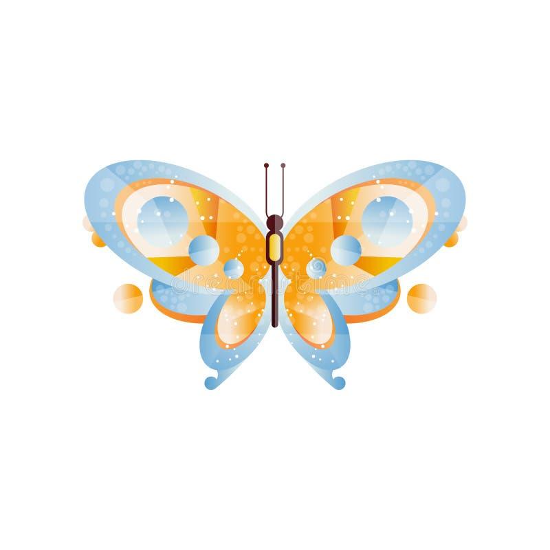 Bella farfalla con le ali blu ed arancio Tema di entomologia Icona originale con le pendenze e la struttura Vettore piano illustrazione vettoriale