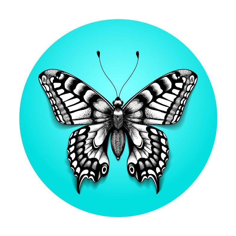 Bella farfalla del tatuaggio per la vostra spalla Farfalla realistica nel cerchio blu Tatuaggio in bianco e nero illustrazione vettoriale