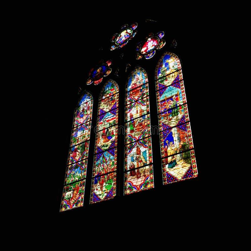 Bella finestra gotica su una cattedrale, Spagna Tico del ³ del gà di Ventanal immagini stock