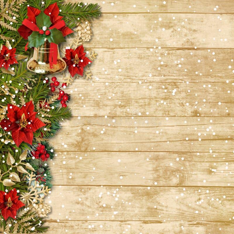 Bella ghirlanda di Natale con poinsettia&bell o royalty illustrazione gratis