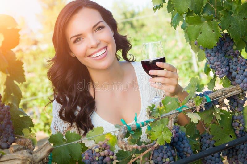 Bella giovane donna adulta che gode dell'assaggio del bicchiere di vino nella vigna immagine stock