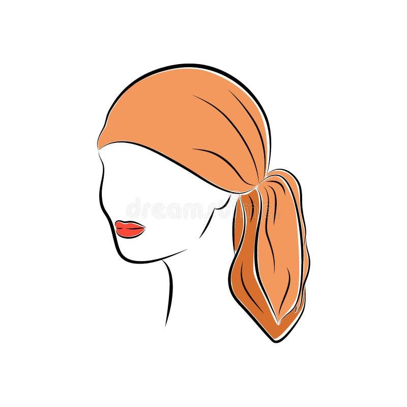 Bella giovane donna in bandana capa arancio illustrazione vettoriale