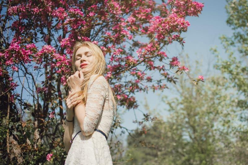 Bella giovane donna bionda in vestito bianco dal pizzo che gode della natura di fioritura con gli occhi chiusi fotografia stock