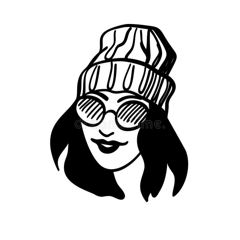 Bella giovane donna in cappello tricottato Ritratto alla moda disegnato a mano della donna Signora di modo Attrezzatura di invern illustrazione di stock