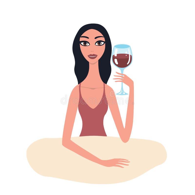 Bella giovane donna castana calda con trucco perfetto che si siede alla tavola che tiene bicchiere di vino royalty illustrazione gratis