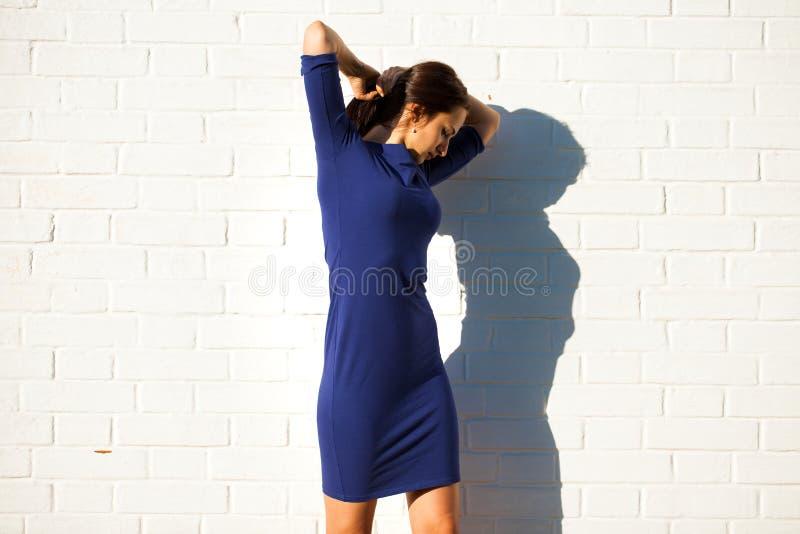 Bella giovane donna castana in vestito blu sexy immagini stock libere da diritti