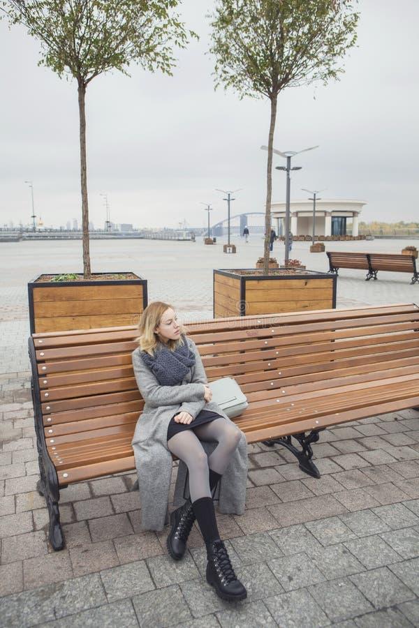 Bella giovane donna caucasica bionda in wa grigio della sciarpa e del cappotto fotografia stock