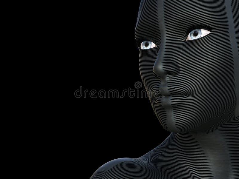 Bella giovane donna caucazian concettuale 3D con una maschera futuristica creativa o vernice di carrozzeria sul suo fronte Bianco royalty illustrazione gratis
