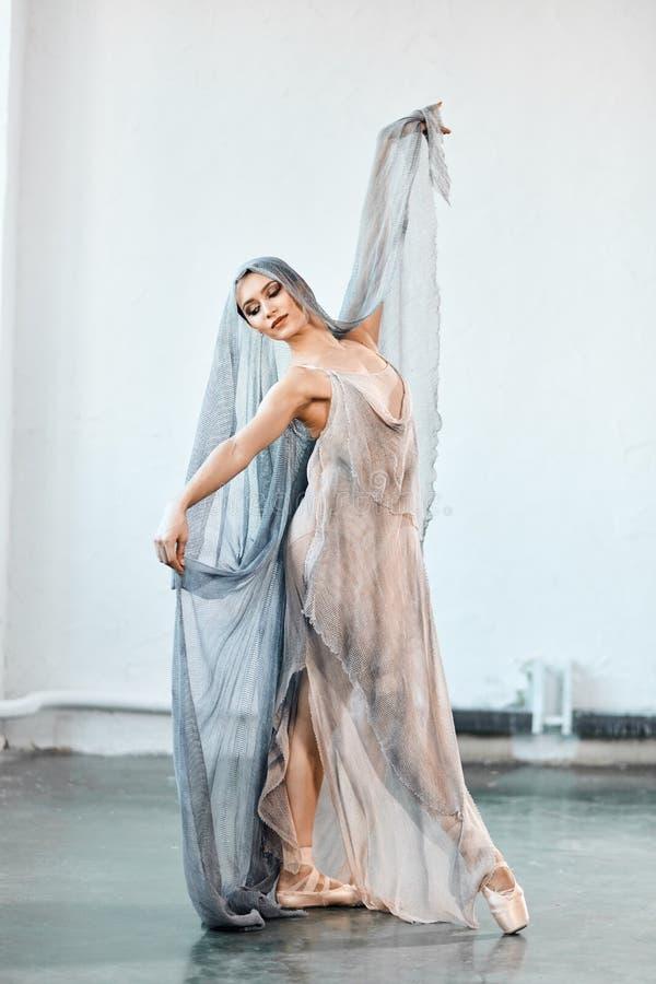 Bella giovane donna che balla nello studio in scarpe del pointe fotografie stock libere da diritti