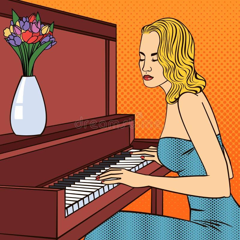 Bella giovane donna che gioca sul piano Pop art illustrazione vettoriale