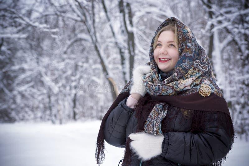 Bella giovane donna che posa nel parco di inverno, più il modello di dimensione su un fondo nevoso fotografia stock libera da diritti