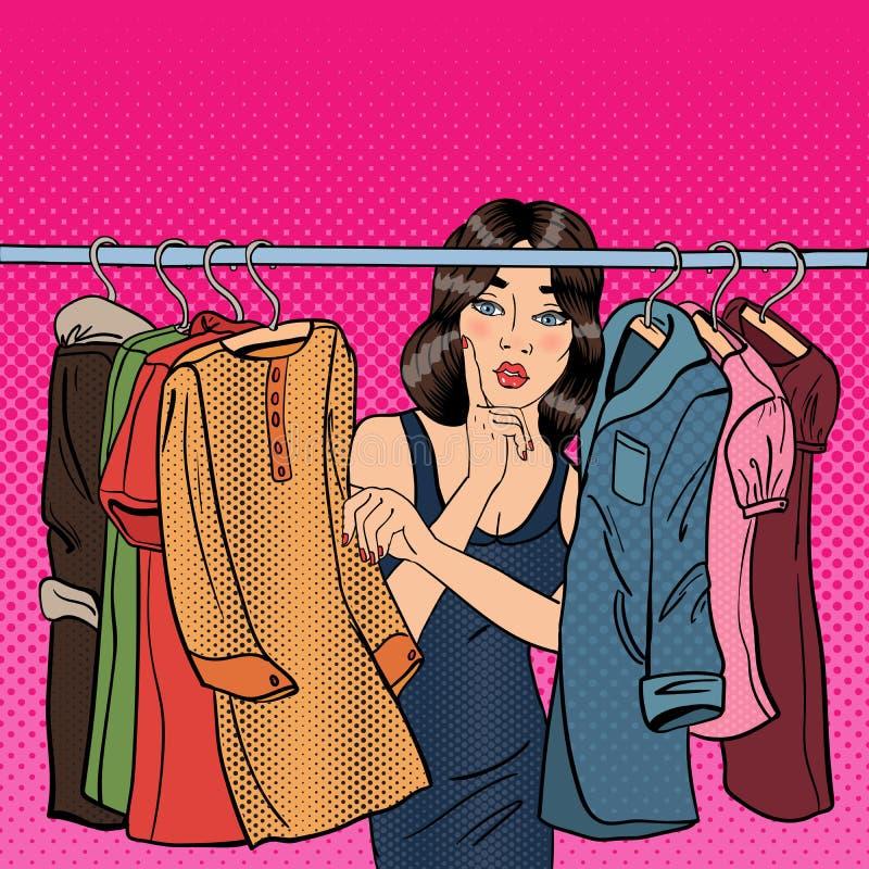Bella giovane donna che sceglie i vestiti nel suo guardaroba Pop art illustrazione di stock