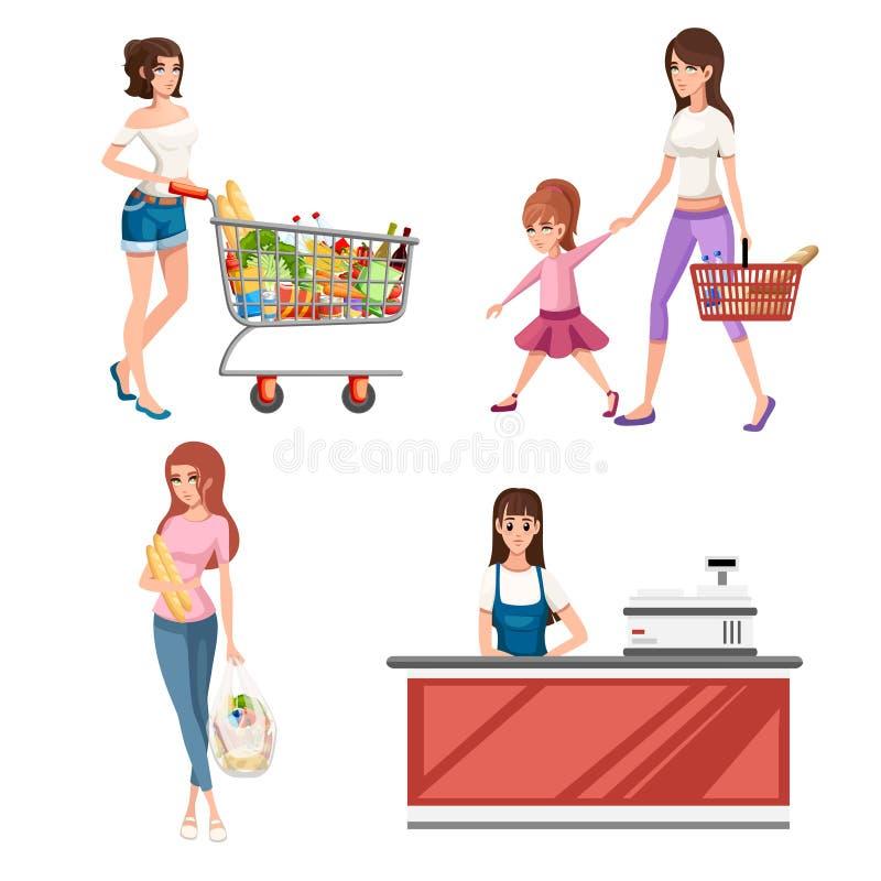 Bella giovane donna con il carrello in pieno dei pacchetti con le verdure e la frutta Progettazione felice di stile del fumetto d illustrazione vettoriale
