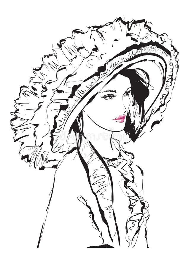 Bella giovane donna con il grande cappello di lusso Abbozzo di modo Trucco di Face Modello di modo disegnato a mano Fronte della  illustrazione vettoriale