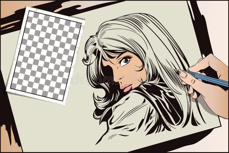 Bella giovane donna del ritratto Illustrazione di riserva illustrazione di stock