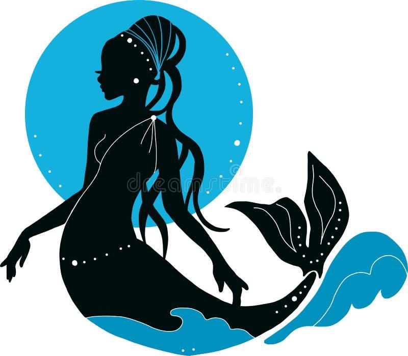 Bella giovane donna della sirena con le perle e la siluetta di modo della luna royalty illustrazione gratis