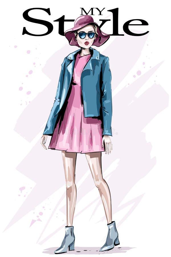 Bella giovane donna disegnata a mano in cappello Donna di modo in occhiali da sole Signora alla moda in vestito Attrezzatura di m illustrazione di stock