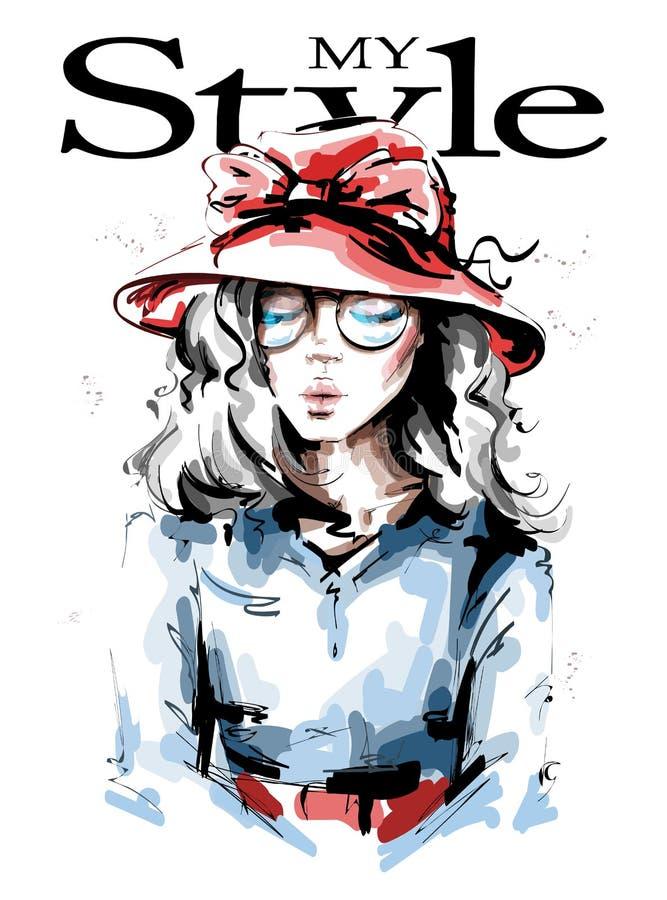 Bella giovane donna disegnata a mano in cappello rosso Ragazza alla moda Sguardo della donna di modo abbozzo illustrazione di stock