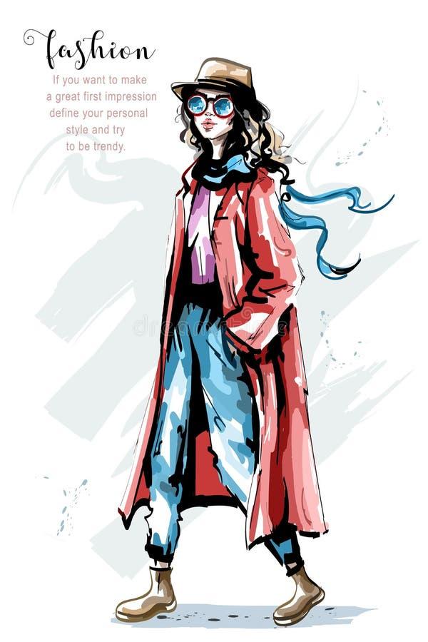 Bella giovane donna disegnata a mano in cappotto Ragazza elegante alla moda in cappello Attrezzatura di autunno della donna di mo illustrazione di stock
