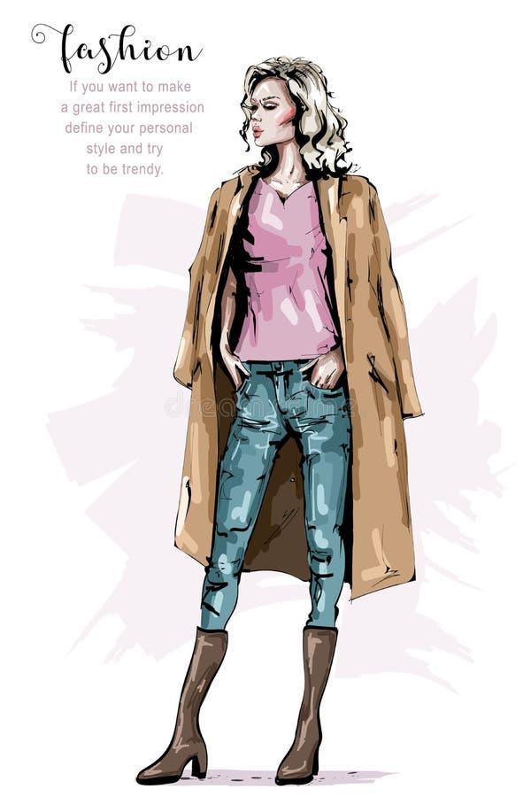 Bella giovane donna disegnata a mano in cappotto Ragazza elegante alla moda Sguardo della donna di modo Attrezzatura di inverno d royalty illustrazione gratis