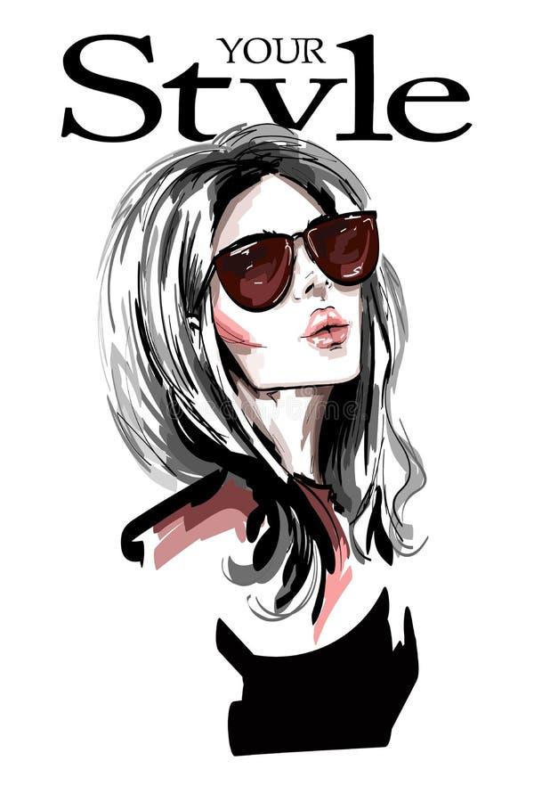 Bella giovane donna disegnata a mano con capelli lunghi Ragazza elegante alla moda Ritratto della donna di modo illustrazione di stock