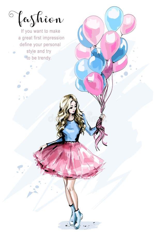 Bella giovane donna disegnata a mano con i palloni variopinti Donna dei capelli biondi di modo Ragazza alla moda illustrazione vettoriale