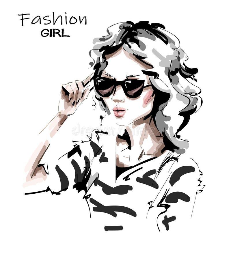 Bella giovane donna disegnata a mano in occhiali da sole E Ragazza alla moda Sguardo della donna di modo abbozzo illustrazione di stock
