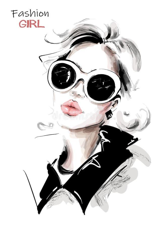 Bella giovane donna disegnata a mano in occhiali da sole Ragazza elegante alla moda Sguardo della donna di modo abbozzo illustrazione di stock