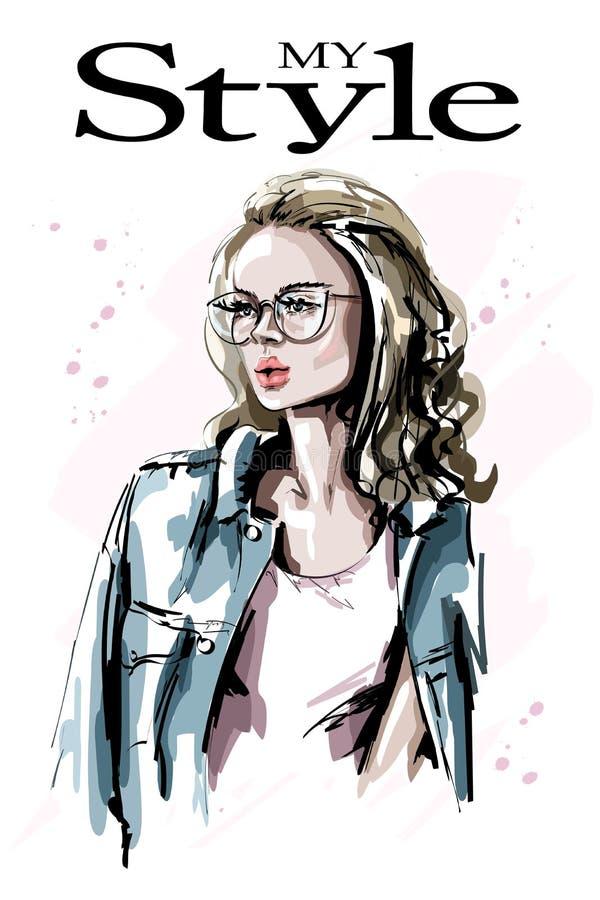 Bella giovane donna disegnata a mano in occhiali Donna dei capelli biondi di modo Ragazza alla moda royalty illustrazione gratis