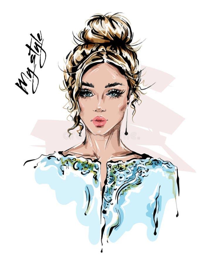 Bella giovane donna disegnata a mano in rivestimento alla moda Ragazza dei capelli biondi Sguardo della donna di modo abbozzo illustrazione di stock