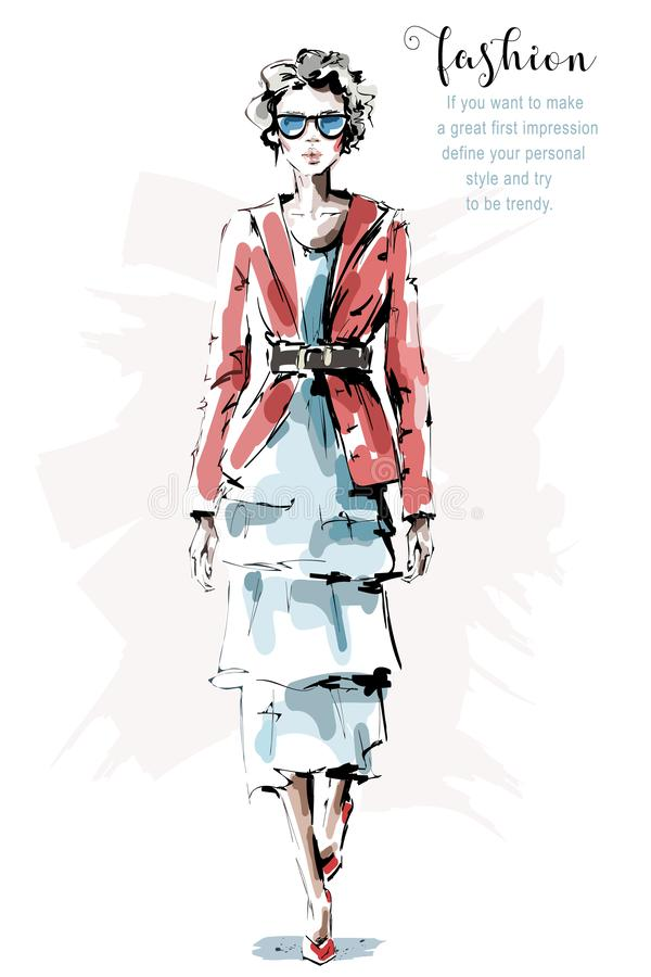 Bella giovane donna disegnata a mano in rivestimento rosso Ragazza alla moda in occhiali da sole Sguardo della donna di modo abbo illustrazione di stock