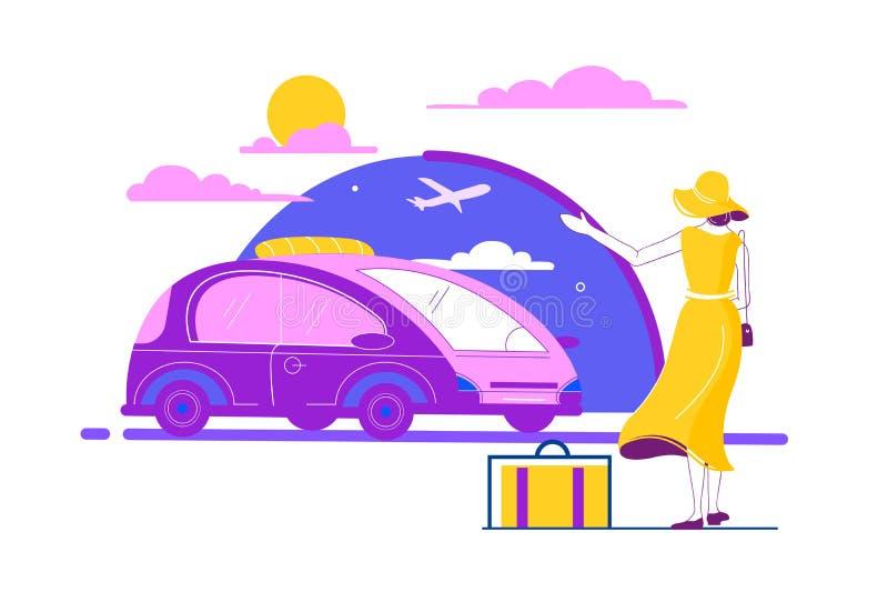 Bella giovane donna piana con bagagli, taxi aspettante del vestito giallo da estate illustrazione vettoriale
