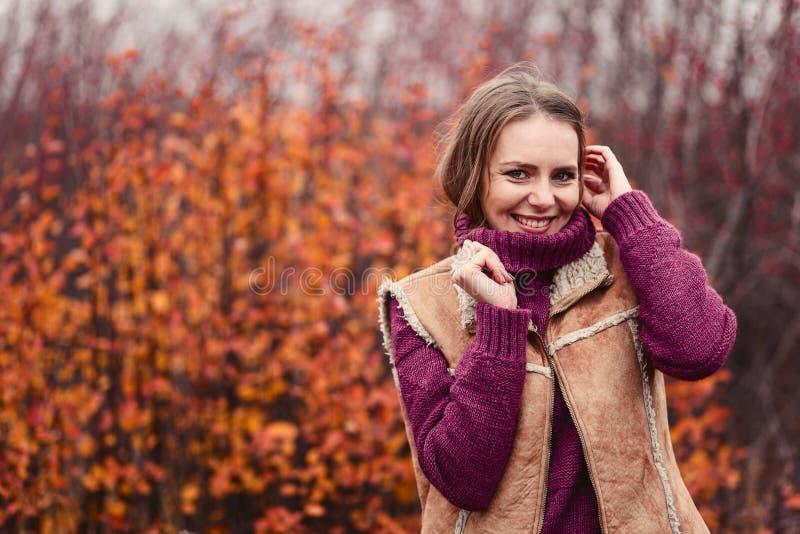Bella giovane donna in un maglione caldo in autunno fotografia stock libera da diritti