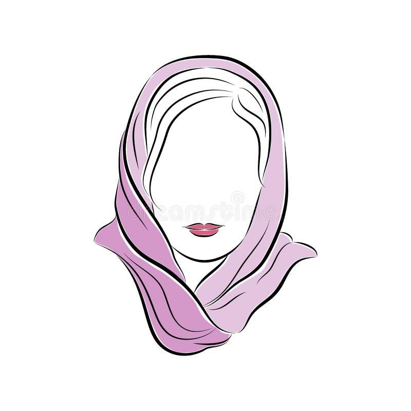 Bella giovane donna in una sciarpa lilla sulla sua testa illustrazione di stock