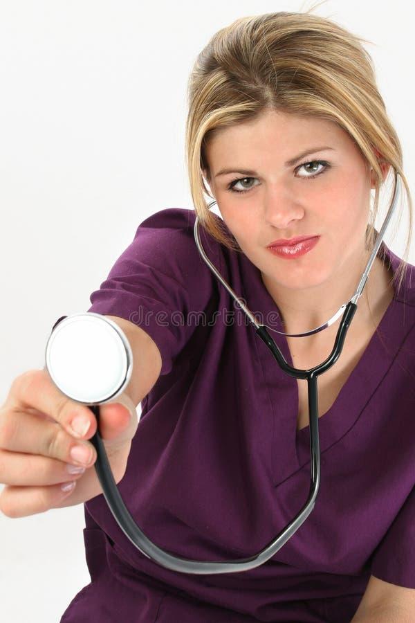 Bella giovane infermiera americana fotografia stock