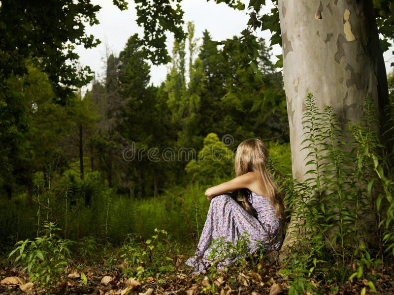 Bella giovane signora nella foresta fotografie stock
