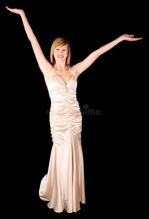 Bella giovane signora in un abito di sera immagini stock