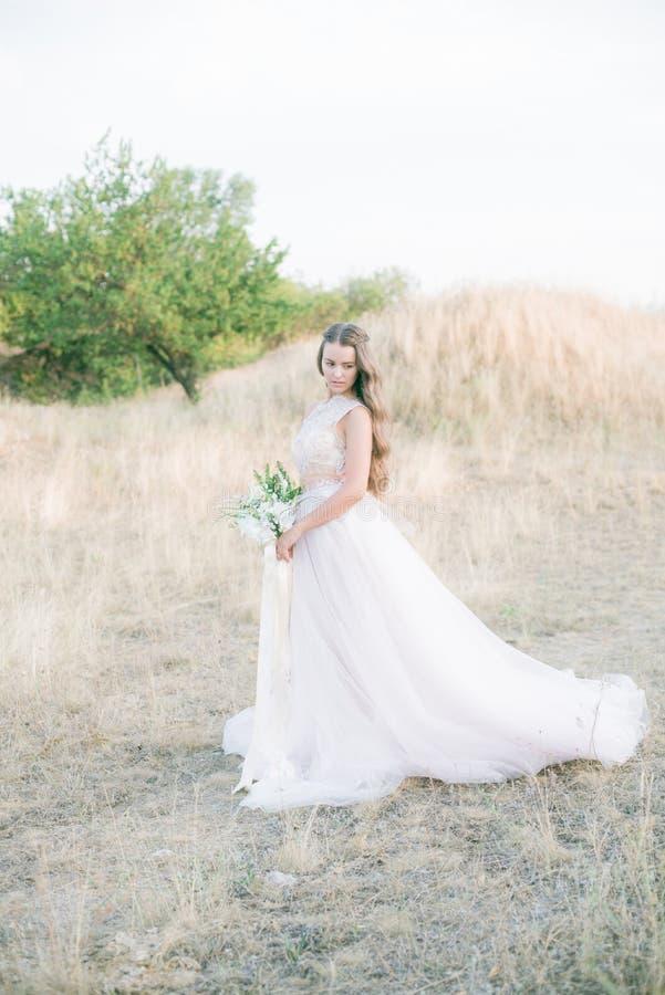 Bella giovane sposa con capelli ricci biondi lunghi in un vestito bianco lungo nel campo di estate immagine stock libera da diritti