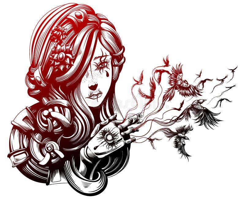 Bella giovane strega illustrazione vettoriale