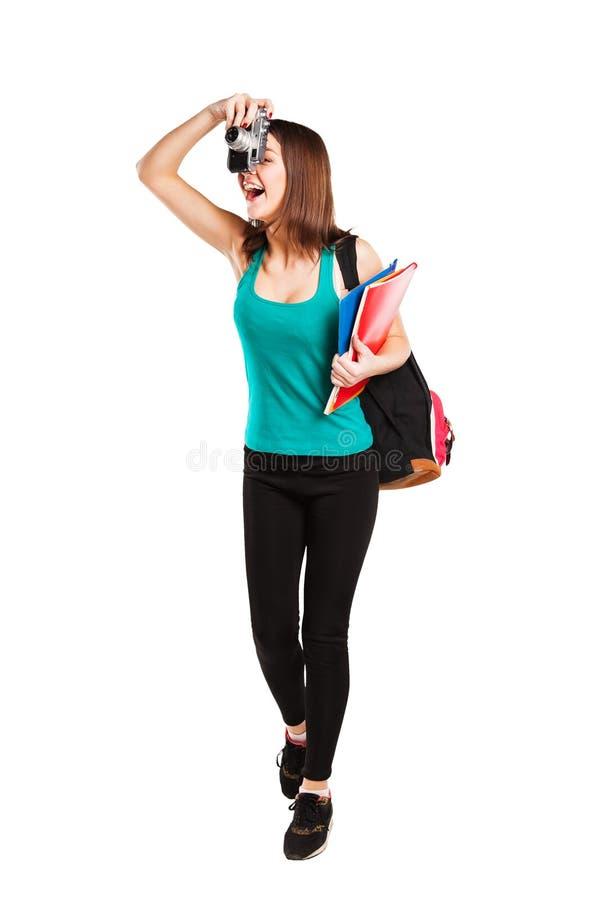 Bella giovane studentessa dell'adolescente che posa con immagine stock libera da diritti
