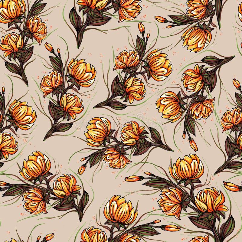 Bella grande progettazione senza cuciture botanica di fioritura del modello dei fiori del giglio per modo, tessuto e tutte le sta illustrazione di stock