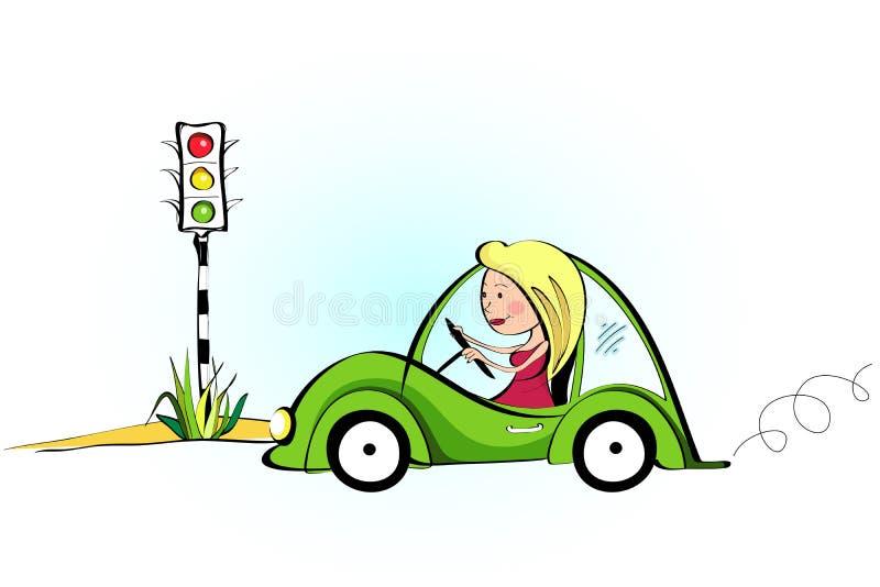 bella guida di veicoli i suoi giovani della donna illustrazione di stock