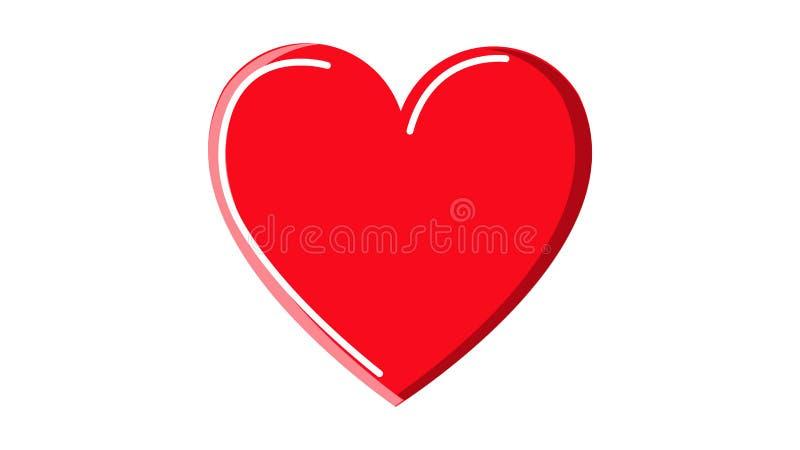 Bella icona astratta di un cuore medico rosso con i punti culminanti semplici su un fondo bianco Illustrazione di vettore royalty illustrazione gratis