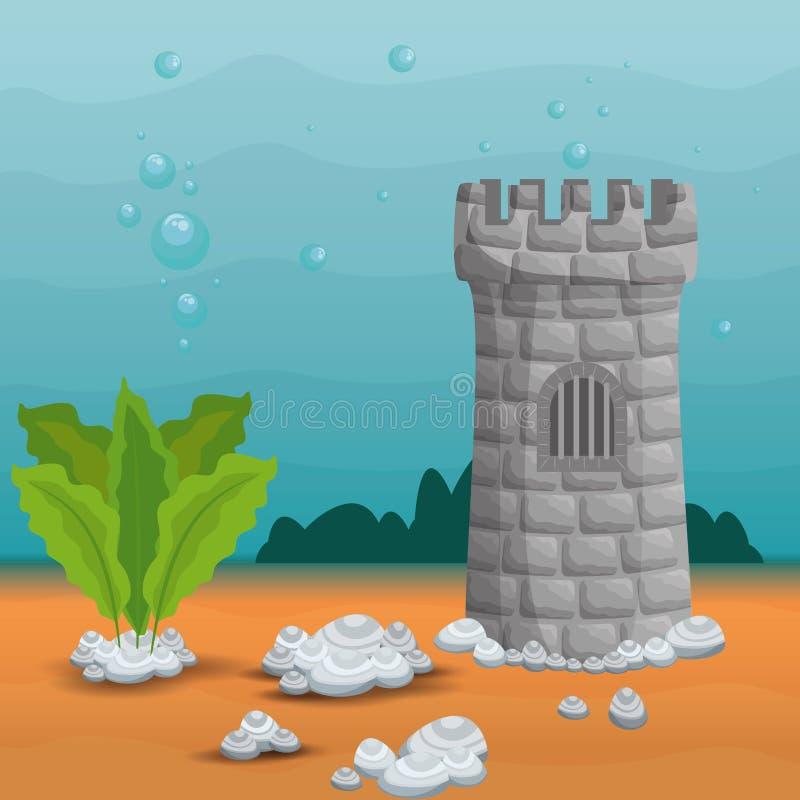 Bella icona di scena dell'acquario royalty illustrazione gratis
