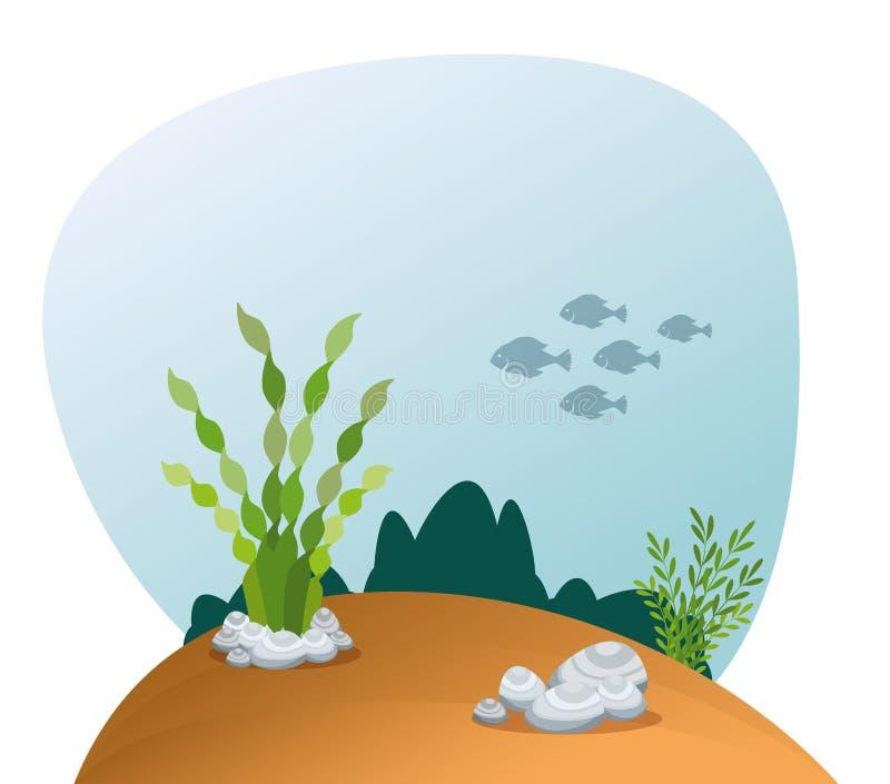 Bella icona di scena dell'acquario illustrazione vettoriale