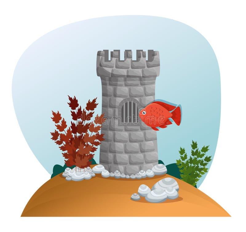 Bella icona di scena dell'acquario illustrazione di stock